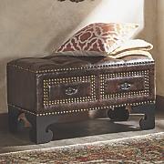 Kalani Studded Bench with Drawers