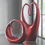 glazed red sculptures
