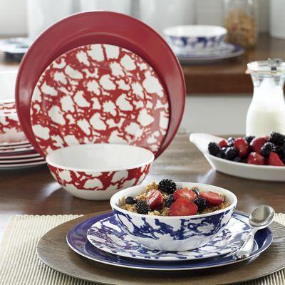 12-Piece Spongeware Melamine Dinnerware Set