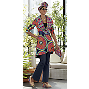 Femke High-Low Jacket, Headwrap, Clutch, Wedge, Fierce Sunglasses & Emory Denim Pant