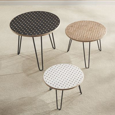Set of 3 Geo Top Side Tables