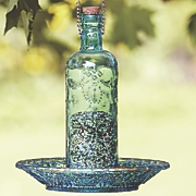 blue bottle bird feeder