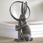 pewter hand magnifier with rabbit stand