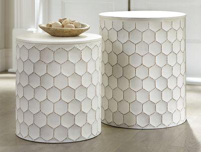 Set of 2 White Metal Tables