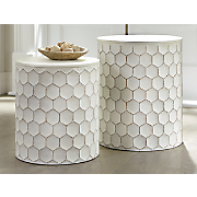 Set of 2 White Metal Tables