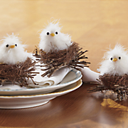set of 3 feather chicks in nests