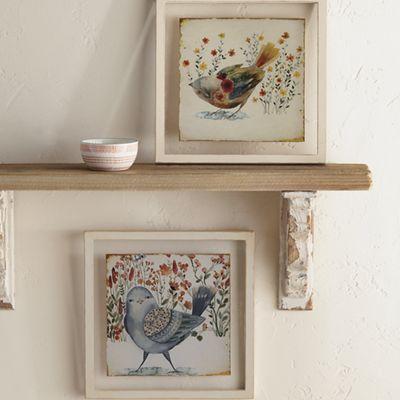 Set of 2 Floral Bird Glass Art
