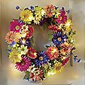 Faux Daisy Lit Floral Wreath