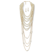faux white pearl necklace   earring set