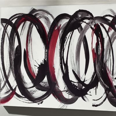 Black and Red Scribbles Canvas Art