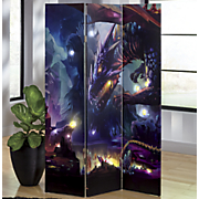 led lighted 3 panel dragon screen