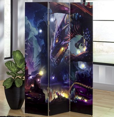 LED Lighted 3-Panel Dragon Screen