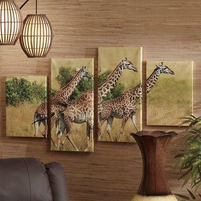 4-Piece Giraffe Canvas Set