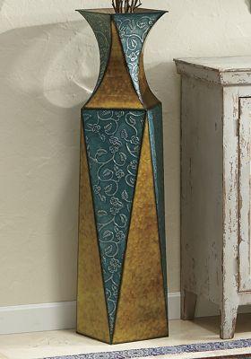 Etched Vine Metal Vase