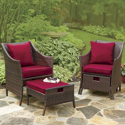 Forever Wicker Chair and Ottoman
