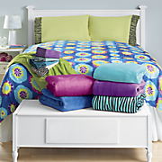 Bright Microplush Blanket - Solid, Tie-Dye or Zebra & Zebra Flocked Sheet Set