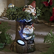 gnomes in a tree solar decor