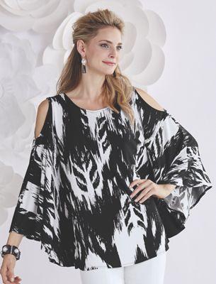 Black/White Ikat Print Top