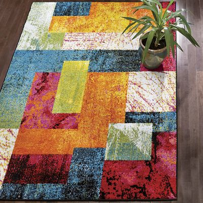 Day-Glo Patchwork Rug