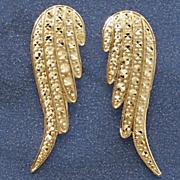 10k gold angel wings post earrings