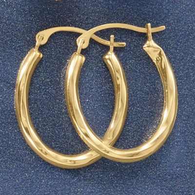 10 K Gold Oval Mini Hoops