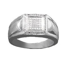 Men's White Diamond Square Ring