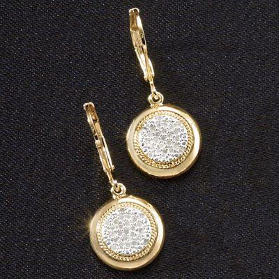 White Diamond Round Leverback Earrings