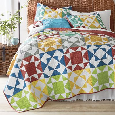 Farmhouse patch oversized quilt and sham from country door for Front door quilt pattern