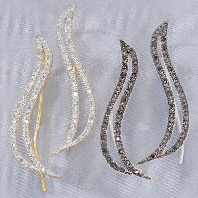 White or Black Diamond Swirled Climber Earrings