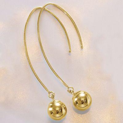 14K Gold Ball/Wire Drop Earrings