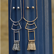 Geo/Fringe Long Necklace/Earring Set