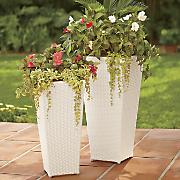 set of 2 white wicker planters