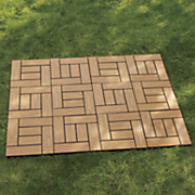 set of 12 wood grain patio tiles