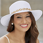 Brimmed Hat with Gold Chain