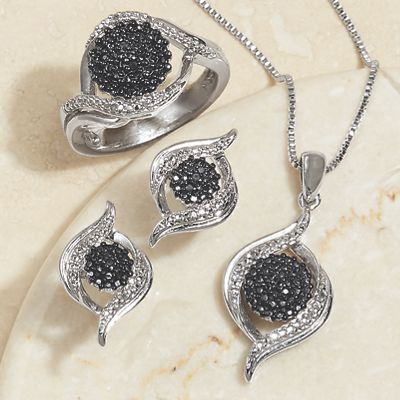 Black and White Diamond Necklace/Earring/Ring Set