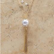 faux pearl long tassel necklace earring set