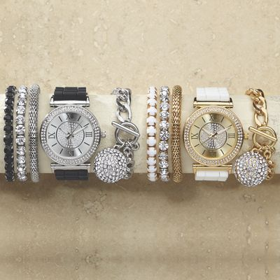 Crystal/Rubber Strap Watch/Bracelet Set