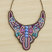 Beaded-Fabric Bib Necklace