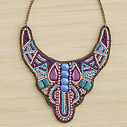 Beaded-Fabric Bib Necklace