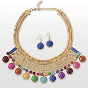 Multicolor-Weave Necklace/Earring Set