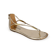 Golden T-Strap Sandal by Monroe and Main