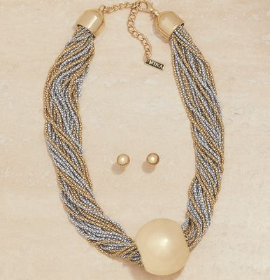Two-Tone Ball Necklace/Earring Set