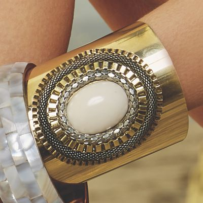 Chain and Stone Accented Cuff