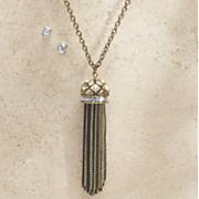 Chain Tassel Necklace/Earring Set
