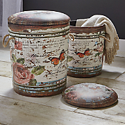 Set of 2 Butterfly Storage Stools