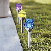 set of 3 solar flower stakes