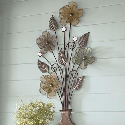 Metal Floral Arrangement Wall Hanging