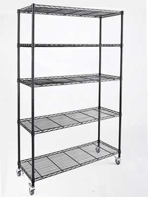 5-Shelf Wide Metal Rolling Rack