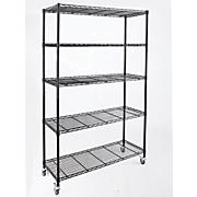 5 shelf wide metal rolling rack