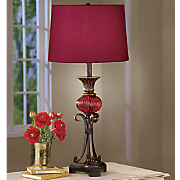 Burgundy 3-Way Table Lamp